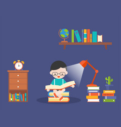 boy reading book in dark with lamp and book vector image