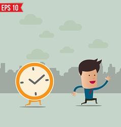 Business man run ahead clock - - eps10 vector