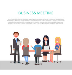 business meeting poster with workers around table vector image