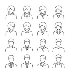 businessman and businesswoman line icon set vector image