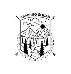 Camping squad badge design outdoor adventure vector