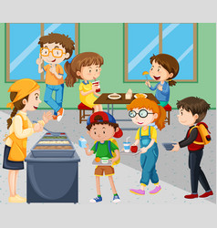Children eating lunch in cafeteria vector