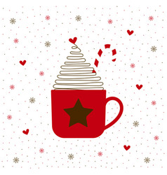 christmas cup on white vector image