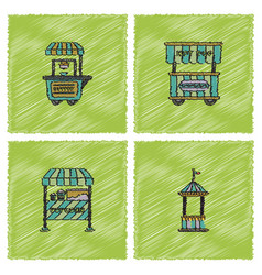 circus equipment icons in hatching style vector image