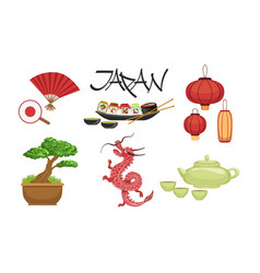 collection japan traditional famous symbols vector image