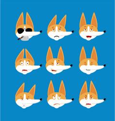 Corgi set emoji avatar sad and angry face guilty vector