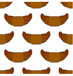 croissant seamless pattern on white background vector image