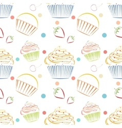 Cupcakes food pattern Seamless background vector