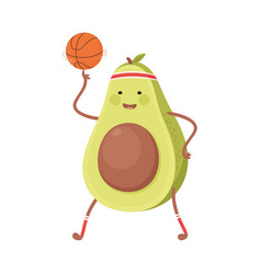 Cute avocado playing basketball funny fruit vector