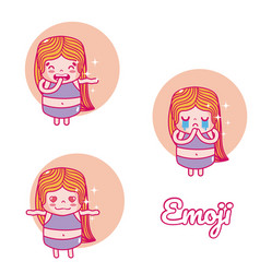 Cute girl emojis vector