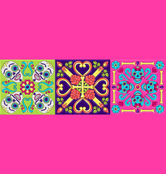 Day dead mexican talavera ceramic tile vector
