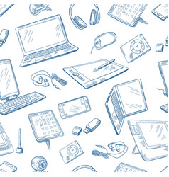 Different computer devices in hand drawn style vector
