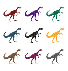 dinosaur gallimimus icon in black style isolated vector image