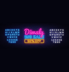 diwali festival offer big sale neon text vector image