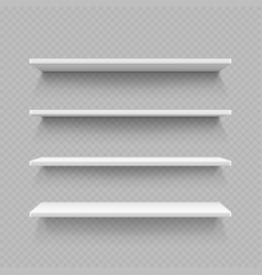 empty white shop shelf isolated on transparent vector image