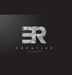 er e r letter logo with zebra lines texture vector image