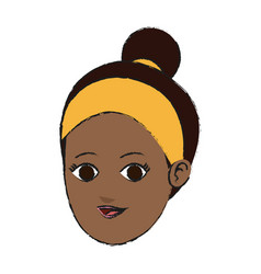 face of pretty dark skin young woman icon imag vector image