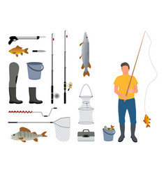 Fisherman with rod and catch vector