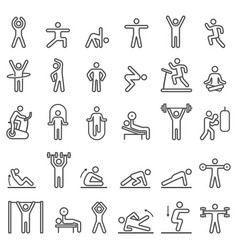 fitness exercise workout line icons set vector image