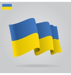 Flat and waving Ukrainian Flag vector image