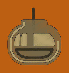 flat shading style icon cabin ski lift vector image