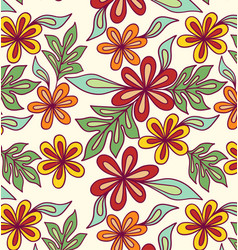 folk-red flowers-pattern vector image