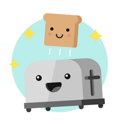 Funny toaster and a slice of bread vector