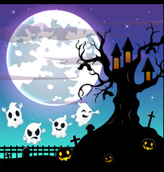 halloween night background with flying ghost and b vector image