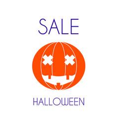halloween sale pumpkin minimal poster vector image