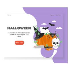 Halloween website landing page design vector