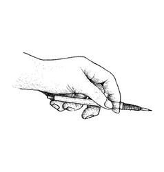 hand holding a pencil preparing for drawing vector image