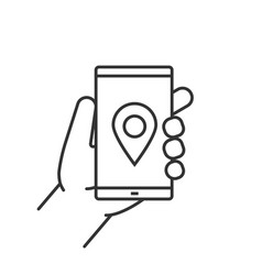hand holding smartphone linear icon vector image