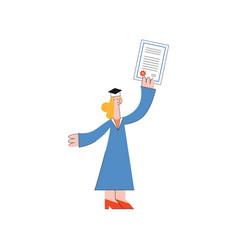 happy teen graduate woman student rejoices vector image