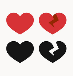 Heart and broken heart icons vector