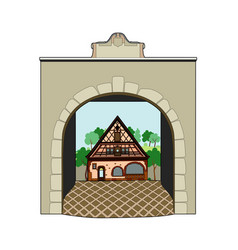 house in the medieval village vector image