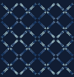 Indigo blue pattern cross grid seamless vector