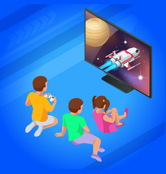 isometric girl and boys play video game on tv vector image