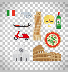 Italy icons set on transparent background vector