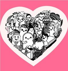 kawaii heart cartoon vector image