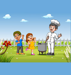 Kids with pretty chef cooking outdoors vector