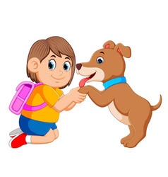 little girl with the pink bag holding the dog feet vector image