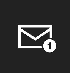 mail envelope message in flat style on black vector image