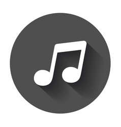 music icon sound note on black round background vector image