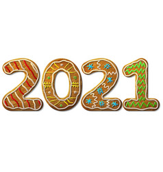 new year 2021 in shape gingerbread isolated vector image