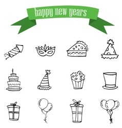 New Year and Christmas icons vector