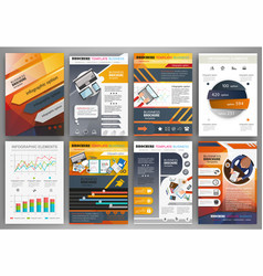 orange and grey brochure template with vector image