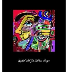 Original contemporary digital painting artwork to vector