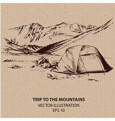 Outdoor trip to the mountains vector image