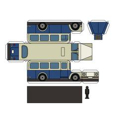 Paper model of a vintage blue cream bus vector