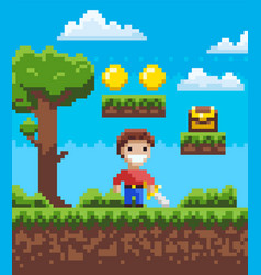 pixel game knight holding steel adventure vector image